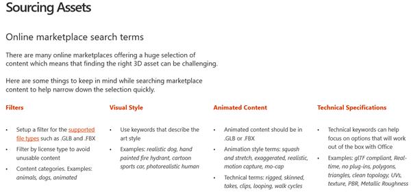 Screenshot da secção Sourcing Assets das Diretrizes de Conteúdo 3D