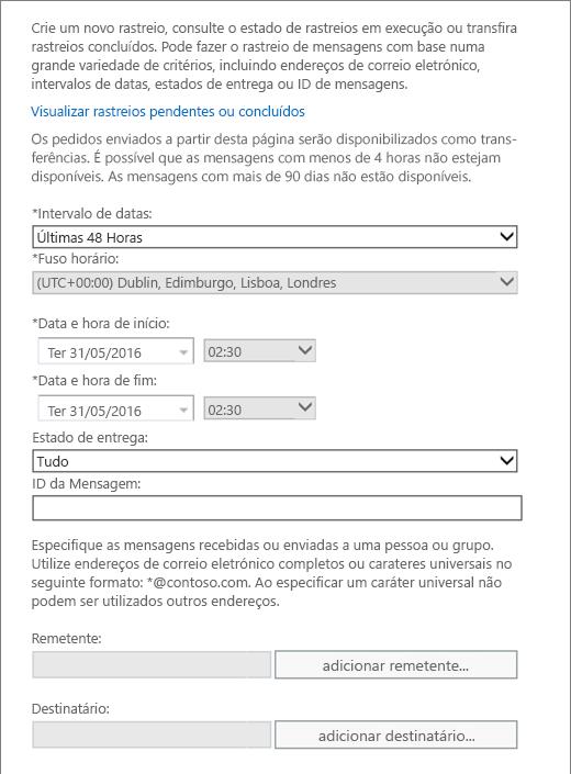 Captura de ecrã a mostrar as opções disponíveis no rastreio de mensagens