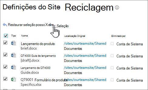 Reciclar de 2º nível SharePoint 2013 com todos os itens selecionados e eliminar botão realçado