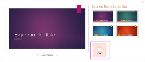 Mostra a caixa de diálogo Criar Nova apresentação a Partir de Tema no PowerPoint