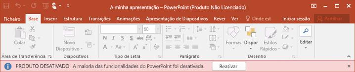 Mostra uma mensagem de erro específica sobre o motivo pelo qual o Office entrou no modo não licenciado