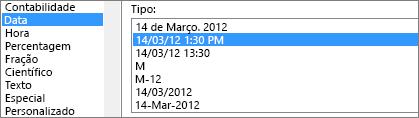 Diálogo de células de formato, comando de data, tipo 3/14/12 1:30 PM