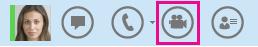 Captura de ecrã de um ícone de contacto e de câmara para iniciar uma chamada de vídeo