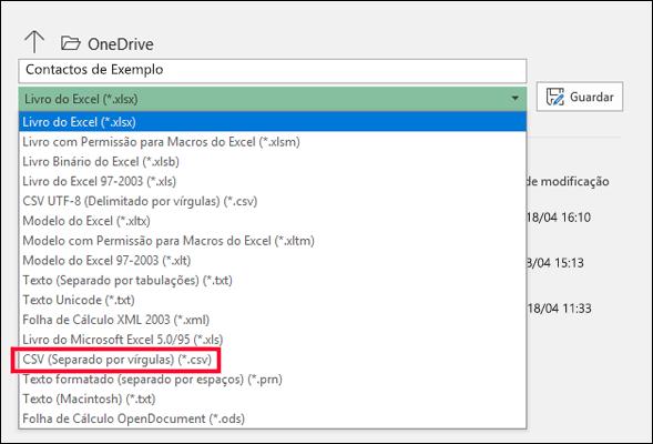 Guarde o seu ficheiro do Excel como um ficheiro CSV.