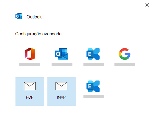 Selecionar o seu tipo de conta ao configurar manualmente uma conta de e-mail no Outlook
