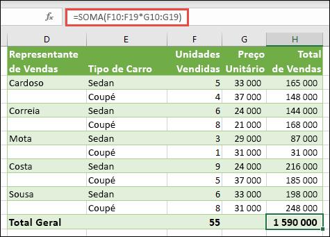 Fórmula de matriz de célula única para calcular um total geral com = soma (F10: F19 * G10: G19)
