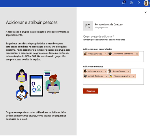 Adicione adicionais proprietários e membros ao novo grupo do Office 365.