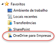 Entrada do OneDrive para Empresas nos Favoritos no SP2016