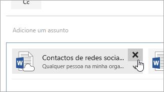 Captura de ecrã do botão Eliminar anexo.