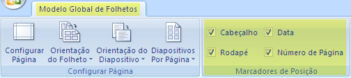 Desselecione uma caixa de verificação, como o Cabeçalho, para remover a funcionalidade dos seus folhetos.