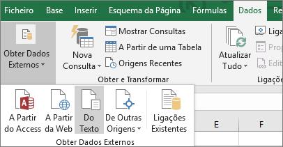 A opção A Partir de um Ficheiro de Texto está realçada no separador Dados.