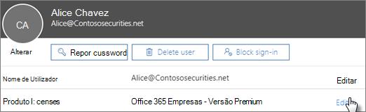 No cartão de utilizador, selecione Editar junto a licenças de produto.
