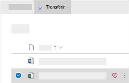 Captura de tela de transferência de um ficheiro bloqueado no OneDrive para empresas