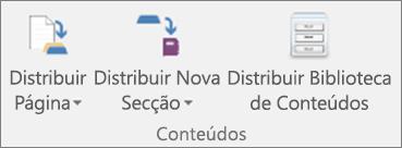 O separador Bloco de Notas Escolar inclui os ícones Distribuir Página, Distribuir Nova Secção e Distribuir Biblioteca de Conteúdos.
