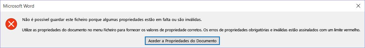 Caixa de diálogo a indicar que o ficheiro não pode ser guardado.