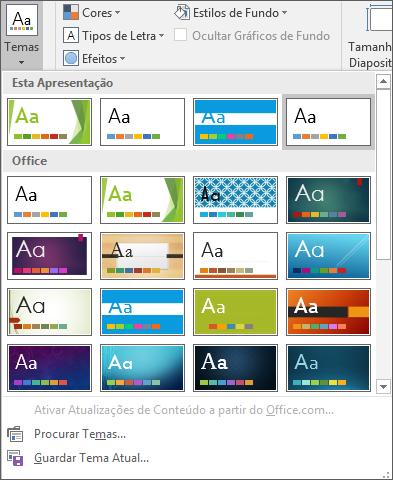 Mostra as opções de Temas do Modelo Global de Diapositivos no PowerPoint