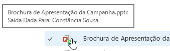 pop-up quando o rato sobre o ícone do documento