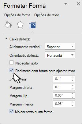 Formatar forma com a forma redimensionar texto selecionado