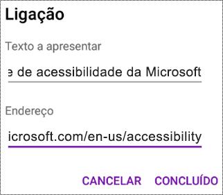 Caixa de diálogo Adicionar hiperligação no OneNote para Android