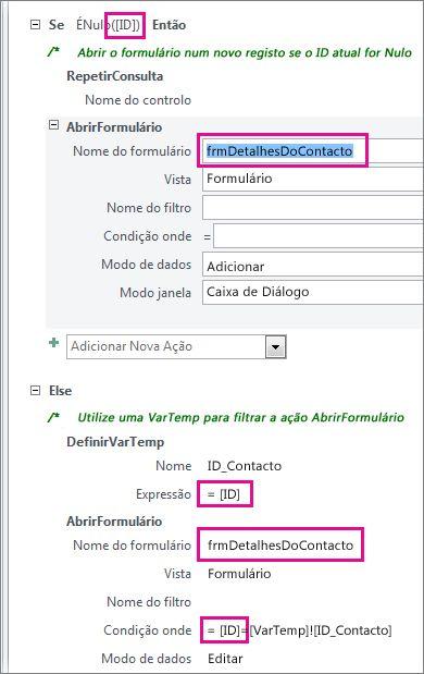 Pontos onde poderá ter de editar a macro de exemplo para corresponder aos nomes dos identificadores da sua base de dados.