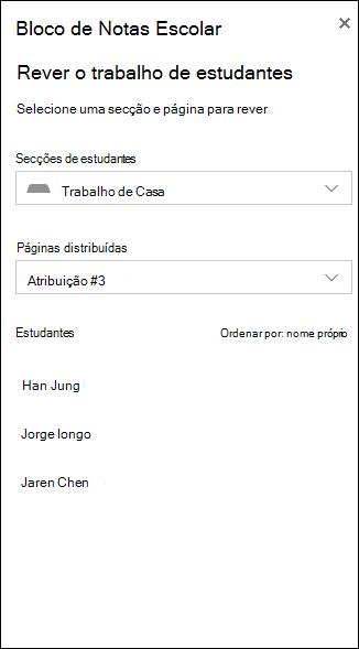 Exemplo de captura de ecrã das opções para rever o trabalho de estudantes