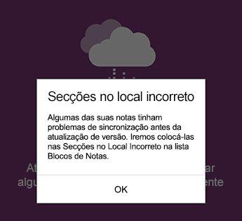 Notificação de secções no local incorreto no OneNote para Android