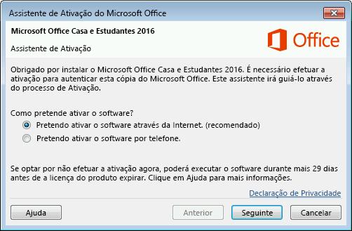 Apresenta o Assistente de Ativação do Microsoft Office
