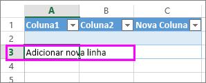 Adicionar uma linha da tabela ao escrever os dados na linha abaixo da última linha da tabela