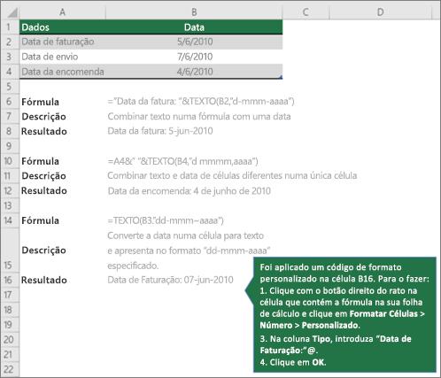 Exemplos para mostrar como as fórmulas podem combinar texto com valores de data e hora