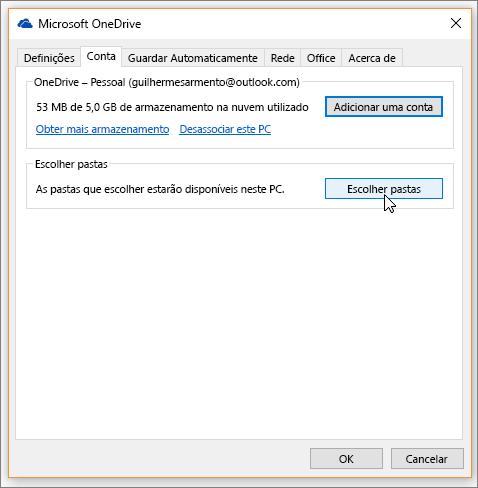Uma captura de ecrã a mostrar o cursor a passar sobre o botão Escolher pastas no separador Conta nas definições do OneDrive.