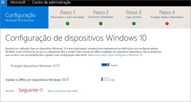Captura de ecrã da página Preparar dispositivos Windows 10