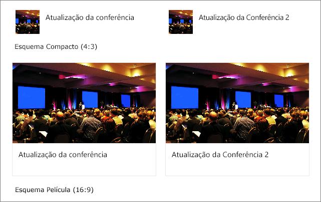 Exemplos de imagens nos layouts quick links