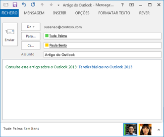 texto de ligação revisto numa mensagem de e-mail