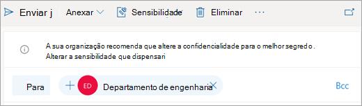 Screenshot de uma dica sobre uma etiqueta de sensibilidade recomendada