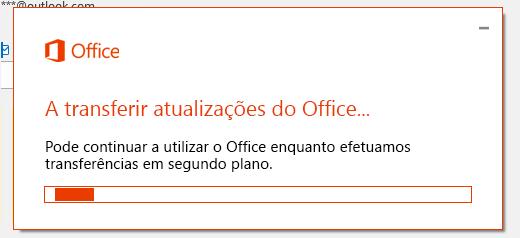 Caixa de diálogo de transferência de atualizações do Office