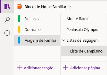 Interface de navegação no OneNote para Windows 10