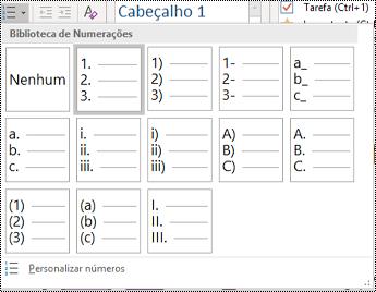Captura de ecrã a mostrar a opção Lista Numerada no menu Base.