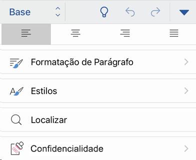 Menu de confidencialidade no iOS