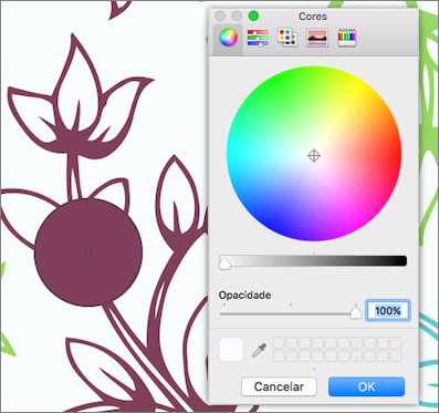 Pré-visualização de cor de selecionador de cores
