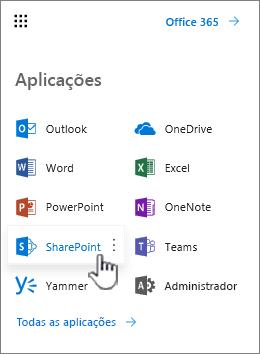 Lista de aplicações do Office 365 a partir do botão do iniciador de aplicações