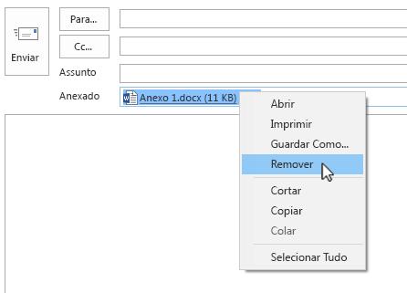 A opção para Remover encontra-se no menu de contexto.