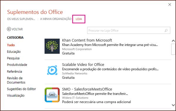 A caixa de diálogo Suplementos do Office com o botão Loja realçado