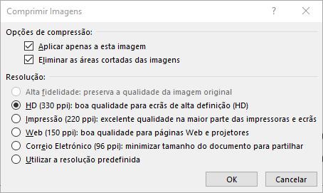 Caixa de diálogo Comprimir Imagens