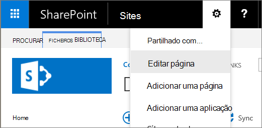 Lista pendente do menu de definições de 2016 do SharePoint para baixo