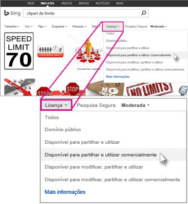 Procurar ClipArt limite através do filtro de licença