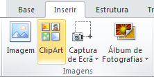 O comando de ClipArt no separador Inserir do Friso no PowerPoint 2010