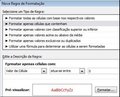 Regra de formatação condicional que apresenta os números menores que 0 com texto a vermelho