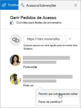 Captura de ecrã da secção Partilha do painel Detalhes de um ficheiro partilhado.