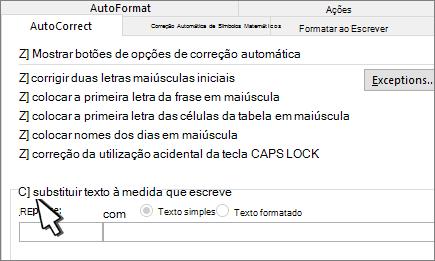 Caixa de verificação substituir ao escrever no separador correção automática