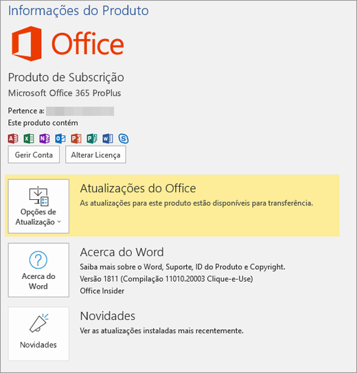 Mostra a vista Backstage do Office 365